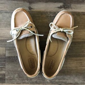 Sperry Leather & Fabric Tan Uppers size 9.5